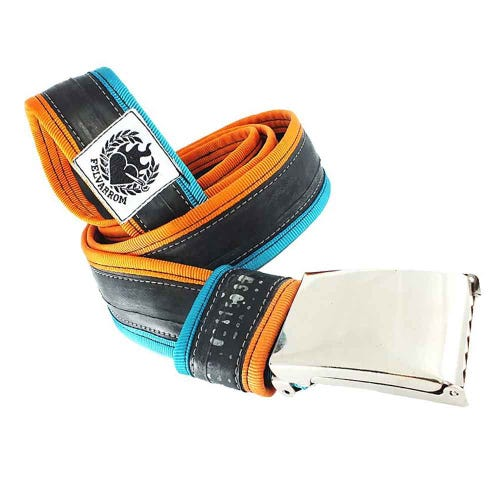 Felvarrom Recycled Inner Tube Belt Turquoise Orange