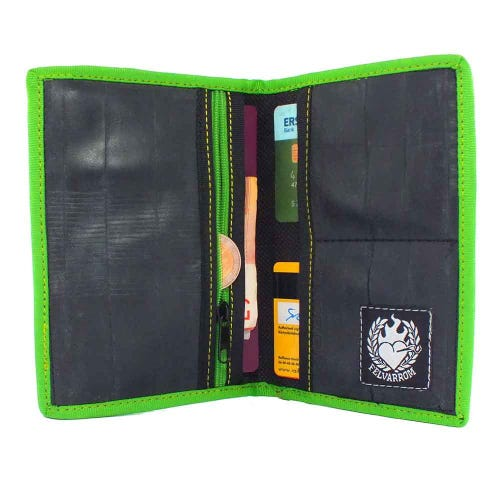 Felvarrom Recycled Inner Tube Passport Holder Green