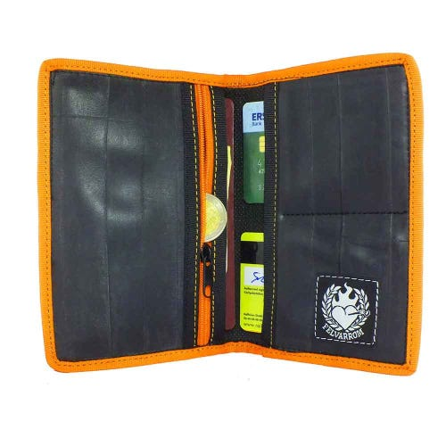 Felvarrom Recycled Inner Tube Passport Holder Orange
