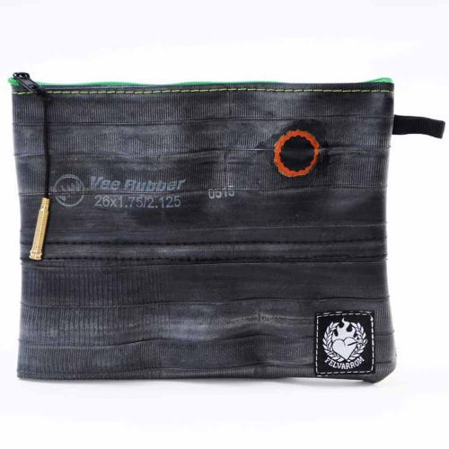 Felvarrom Recycled Inner Tube Makeup Pouch Green