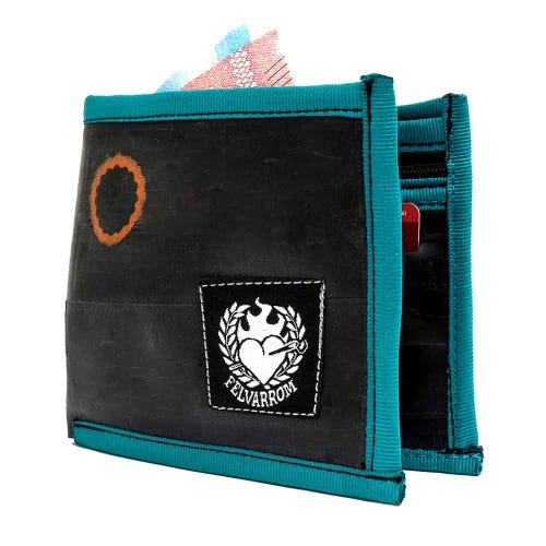 Felvarrom Recycled Inner Tube Wallet Blue