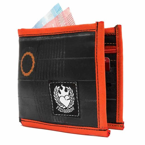 Felvarrom Recycled Inner Tube Wallet Orange