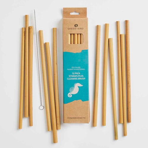 Green + Kind Bamboo Reusable Straws 12 Pack + Cleaning Brush