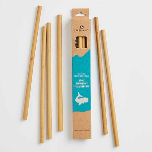 Green + Kind Bamboo Reusable Straws 6 Pack + Cleaning Brush