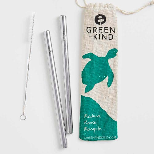 Green + Kind Stainless Steel Smoothie Straight Straws - 2 Pack