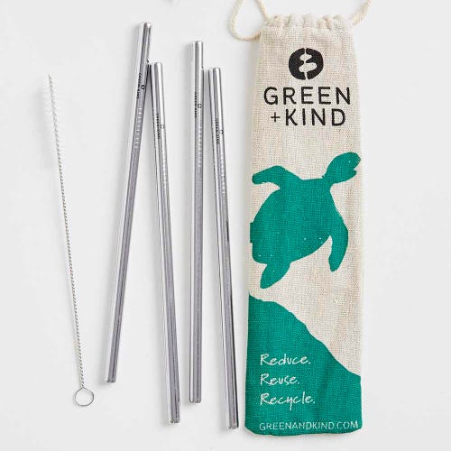 Green + Kind Stainless Steel Straight Straws - 4 Pack