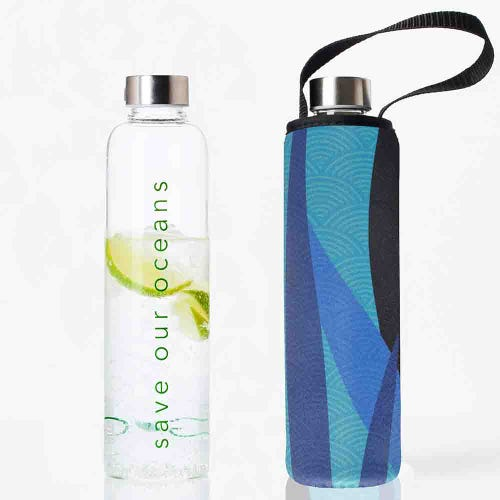 BBBYO Glass is Green Glass Water Bottle 750ml - Reed