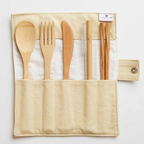 Green + Kind Bamboo Cutlery Set - Roll Up Beige
