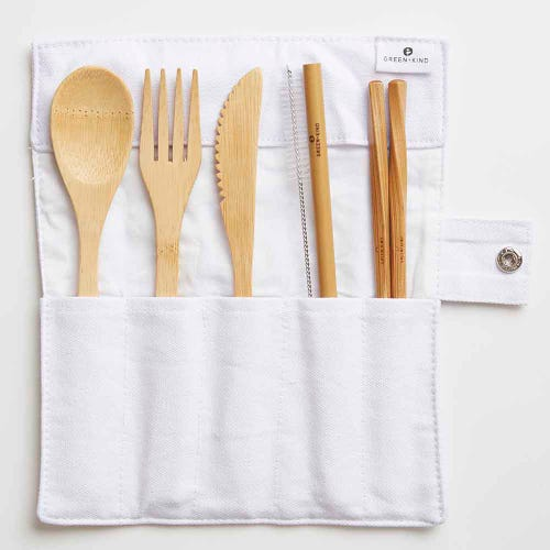 Green + Kind Bamboo Cutlery Set - Roll Up Natural