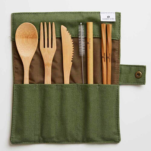Green + Kind Bamboo Cutlery Set - Roll Up olive
