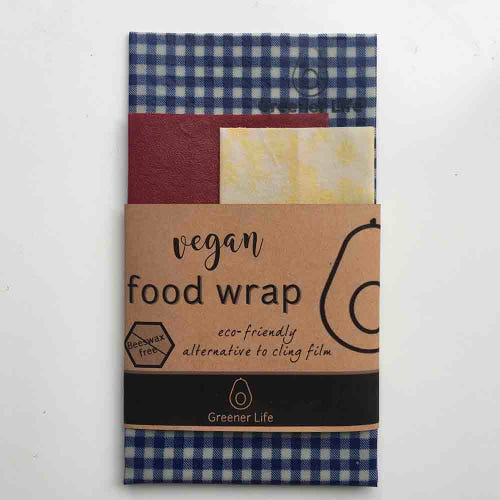 Greener Life Vegan Food Wrap - Blue Check