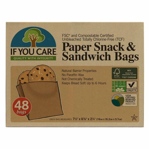 If You Care Paper Snack & Sandwich Bags - 48