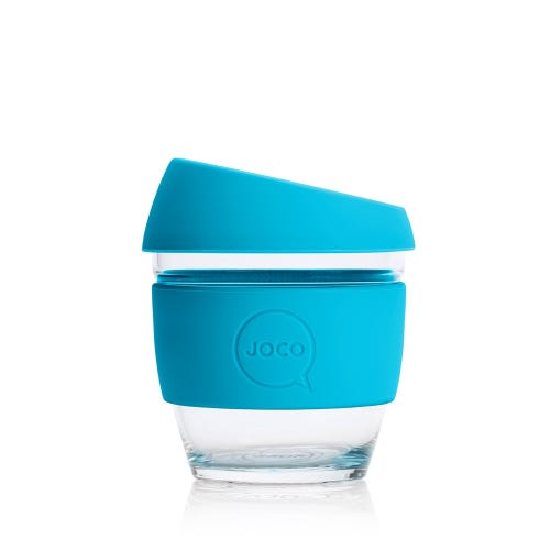 JOCO Reusable Glass Cup Blue (8oz)