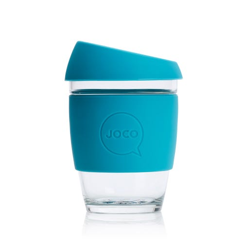JOCO Reusable Glass Cup Blue (12oz)