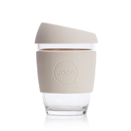 JOCO Reusable Glass Cup Sandstone (12oz)