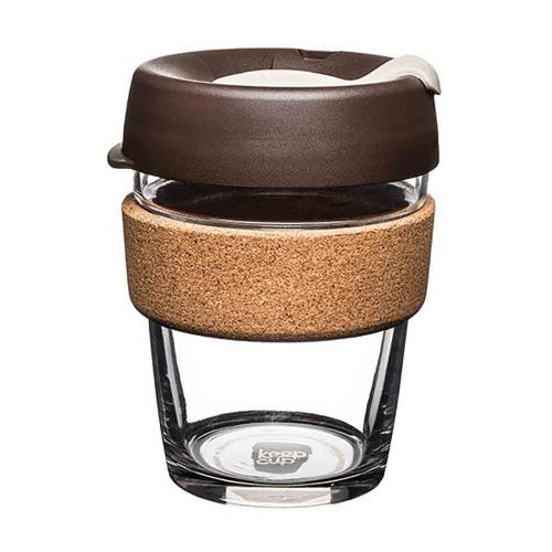 KeepCup Glass Coffee Cup with Cork - Almond (12oz)