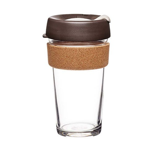 KeepCup Glass Coffee Cup with Cork - Almond (16oz)