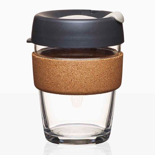 KeepCup Glass Coffee Cup with Cork - Press (12oz)