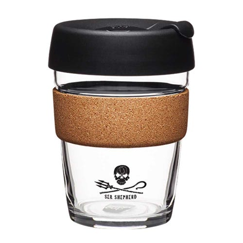KeepCup Sea Shepherd Glass Coffee Cup with cork  (12oz)