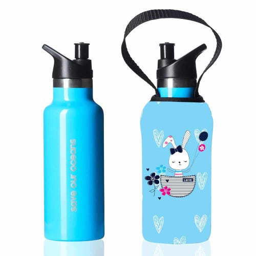 BBBYO Kids Sippy Bottle + Carry Cover Bunny - 500ml