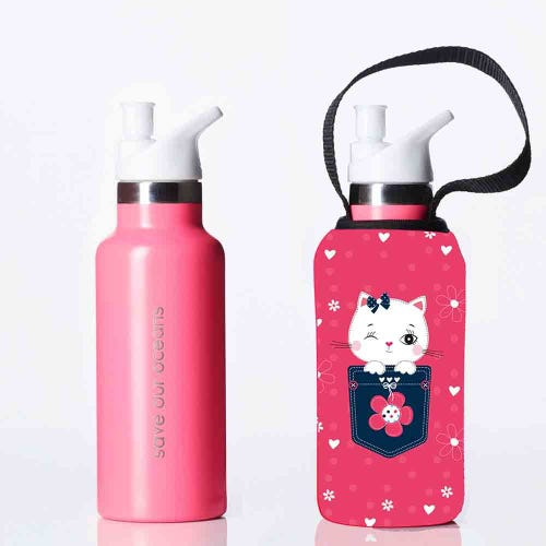BBBYO Kids Sippy Bottle + Carry Cover Kitty - 500ml