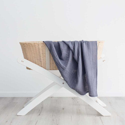 Love & Lee Organic Cotton Muslin Swaddle - Stormy Blue