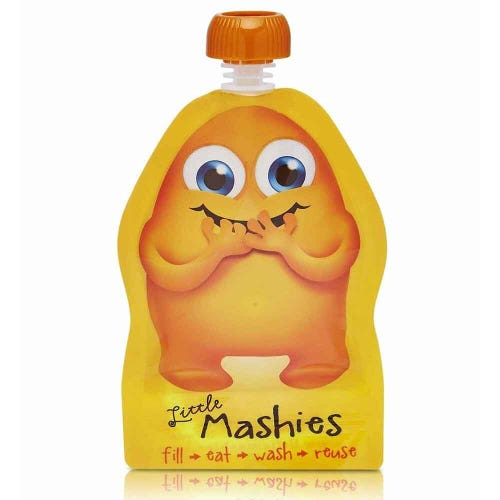 Little Mashies Resuable Food Pouch 2 Pack - Orange