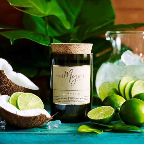 Mojo Reclaimed Wine Bottle Candle - Coconut & Lime