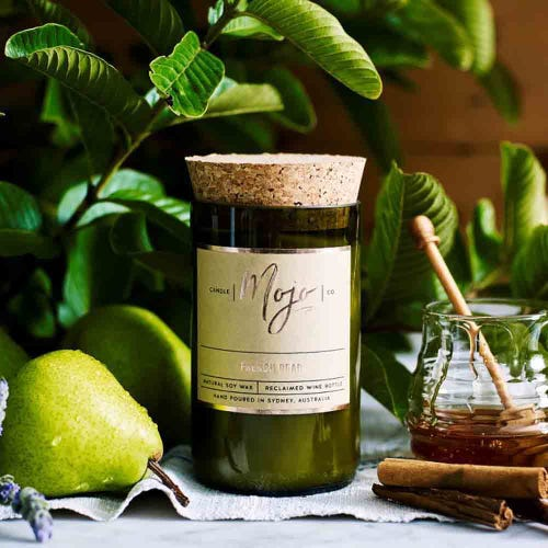 Mojo Reclaimed Wine Bottle Candle - French Pear