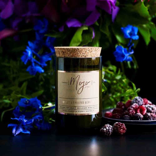 Mojo Reclaimed Wine Bottle Candle - Frosted Berries & Violet