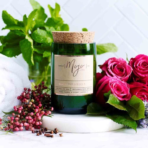 Mojo Reclaimed Wine Bottle Candle - Rose, Pepper & Black Mint