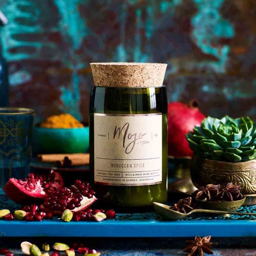 Mojo Reclaimed Wine Bottle Candle - Moroccan Spice