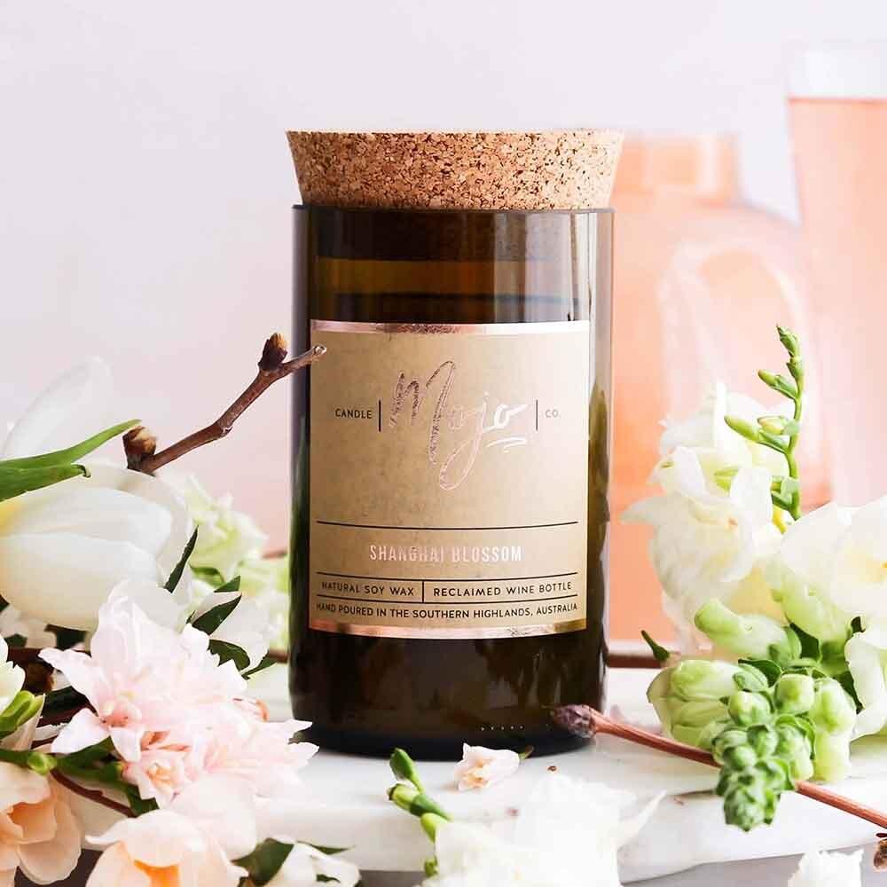 Mojo Reclaimed Wine Bottle Candle - Shanghai Blossom
