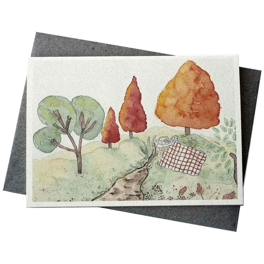 Hello Petal Seeded Card - Autumn Landscape