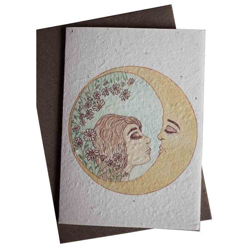 Hello Petal Seeded Card - The Girl and Her Moon