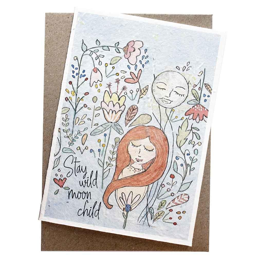 Hello Petal Seeded Card - Moon Child
