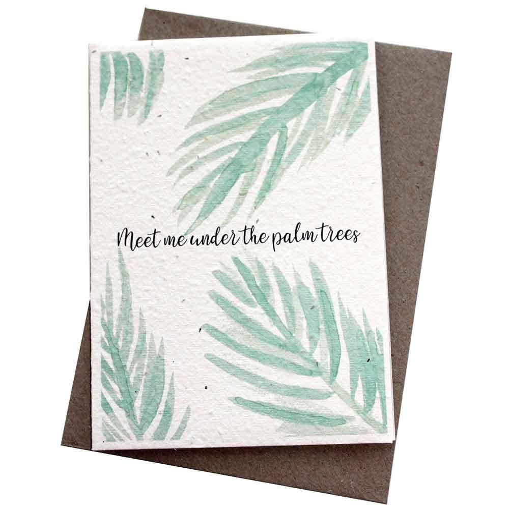 Hello Petal Seeded Card - Palm Trees