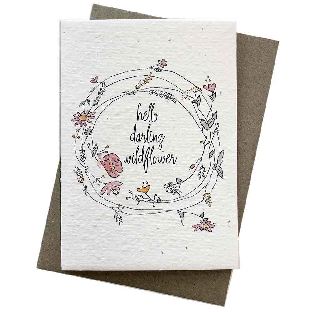 Hello Petal Seeded Card - Wildflower