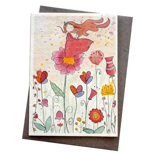 Hello Petal Seeded Card - Whimsical Wishes