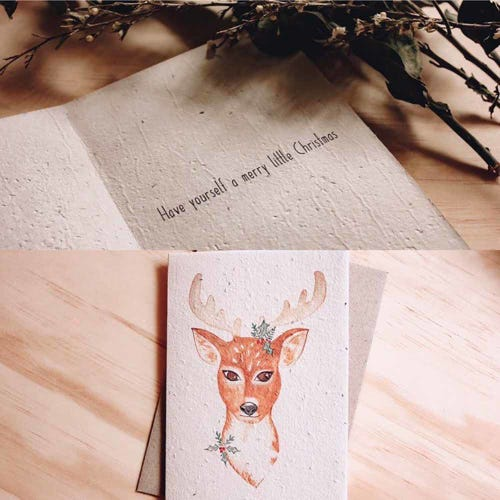 Hello Petal Christmas Card - Reindeer