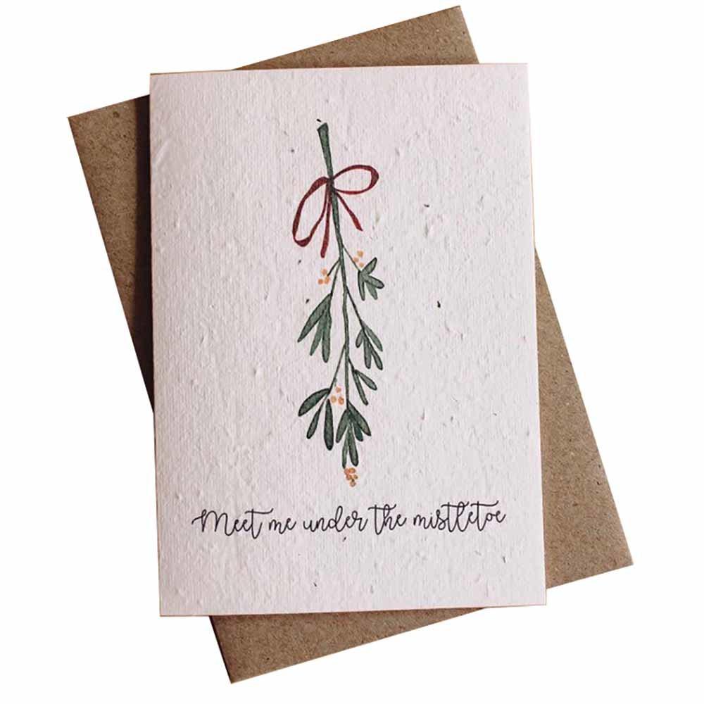 Hello Petal Christmas Card - Mistletoe