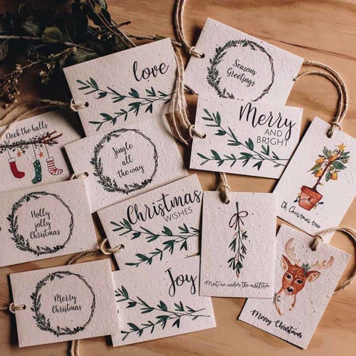 Hello Petal Christmas Tags Mixed - 12 Pack