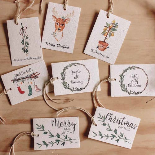 Hello Petal Christmas Tags Merry & Bright- 8 Pack