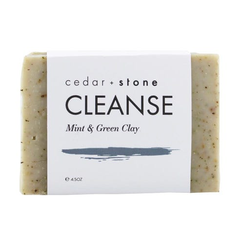 Cedar + Stone Cleanse Bar Mint and Green Clay (140g)