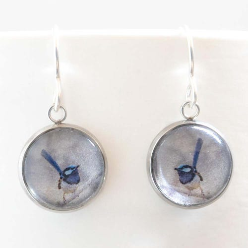 Myrtle & Me Drop Earrings - Blue Wren