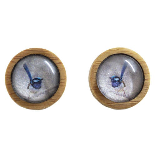 Myrtle & Me Ethical Bamboo Earrings - Blue Wren