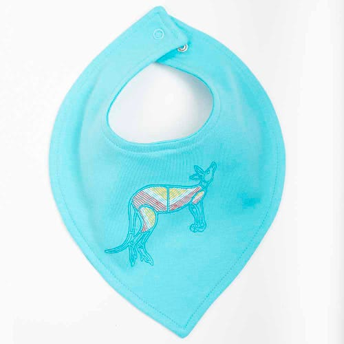 Kangaroo Dreaming Baby Bib Light Blue