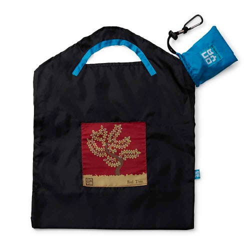 Onya Shopping Bag Small - Black Red Tree