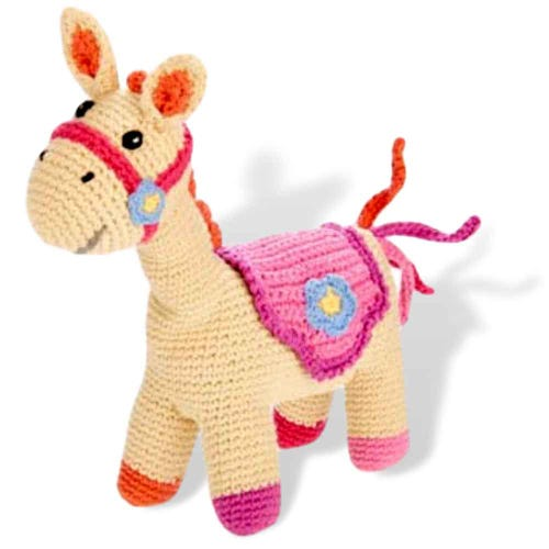 Pebble Ethical Toys - Horse with Rattle - Pink