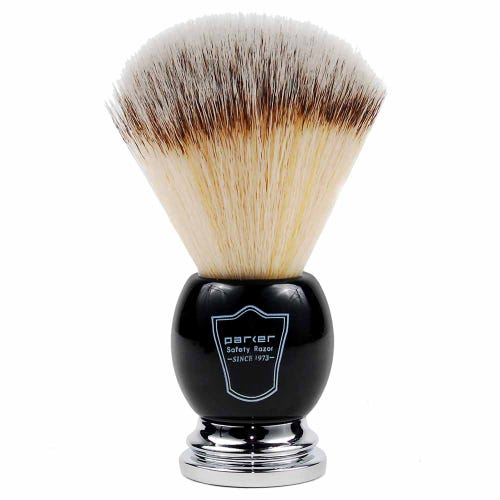 Parker Vegan Shaving Brush - Black & Chrome